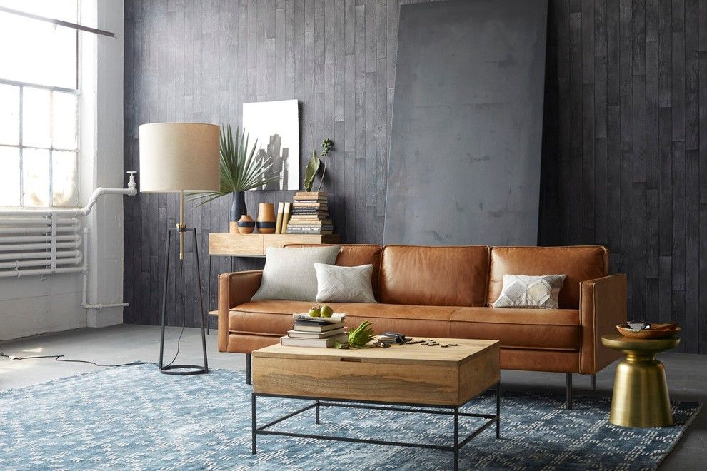 Cognac Leather Sofa Living Room Contemporary With Structural