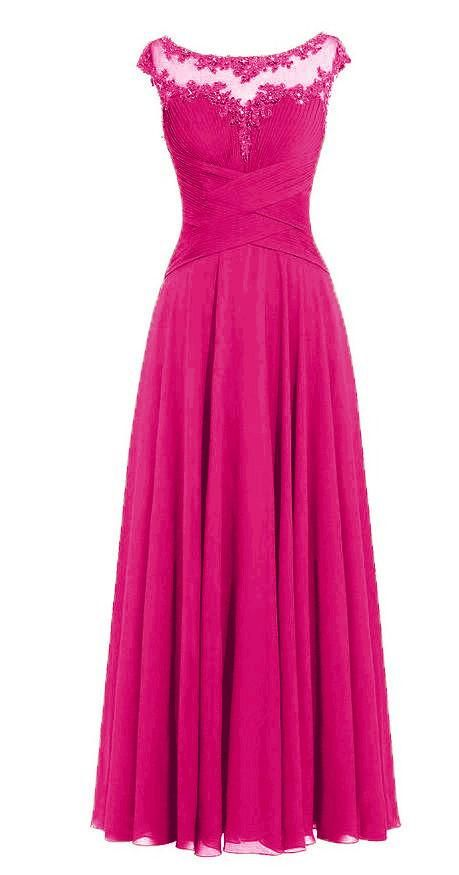 BEAU Fuchsia Hot Pink Long Bridesmaid Prom Wedding Dress UK – Belle ...