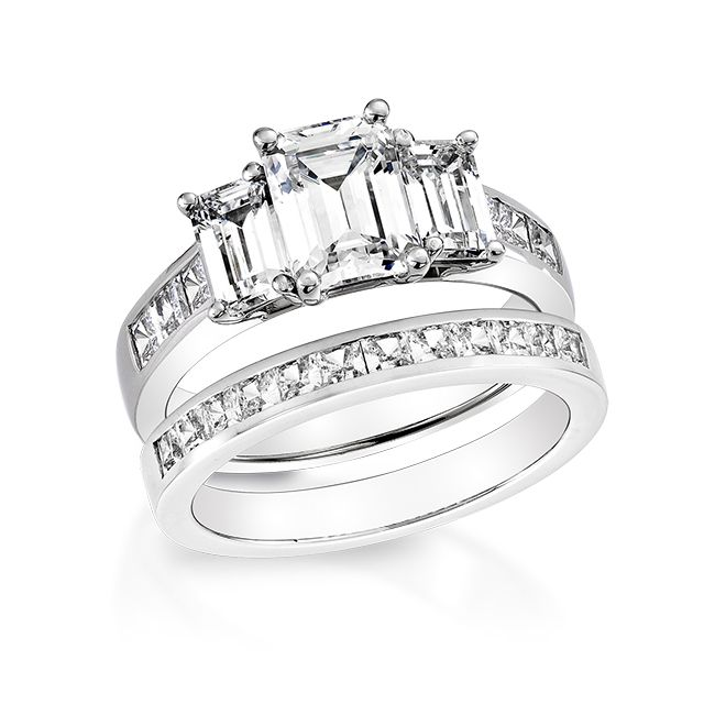 Wedding Rings With Engraved: Emerald Cut Diamond Wedding Ring Sets
