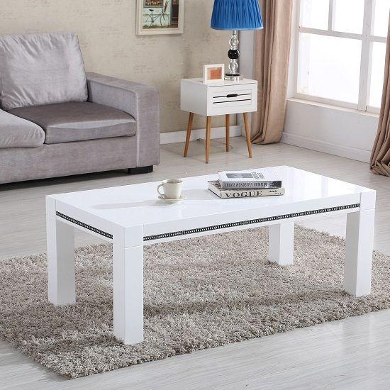Diamante Coffee Table In White High Gloss With Rhinestones  #moderncoffeetables #luxurycoffeetables #furnitureinfashion #
