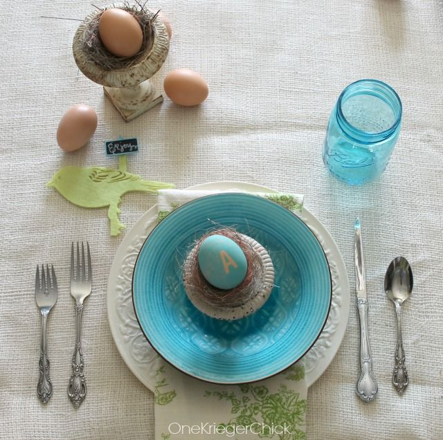 Simple Place Setting for Spring or Easter