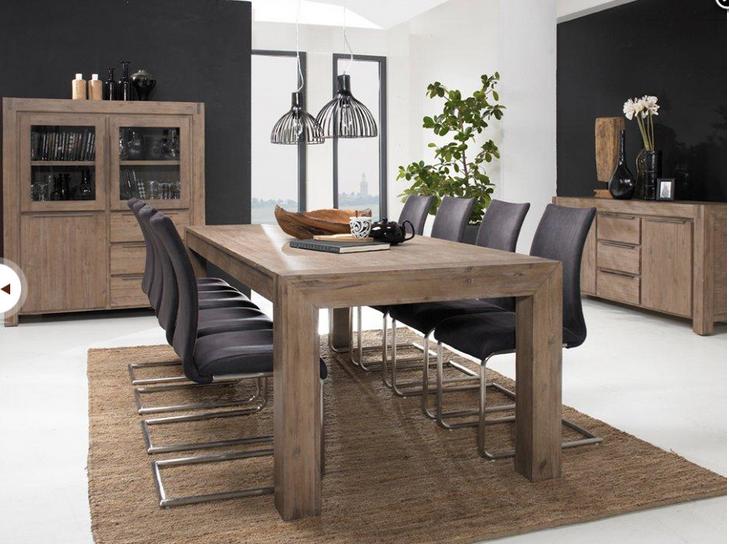 Elegant Esstisch 180/230cm Hamburg   Akazie Massiv   Grau   Gebürstet Home Design Ideas