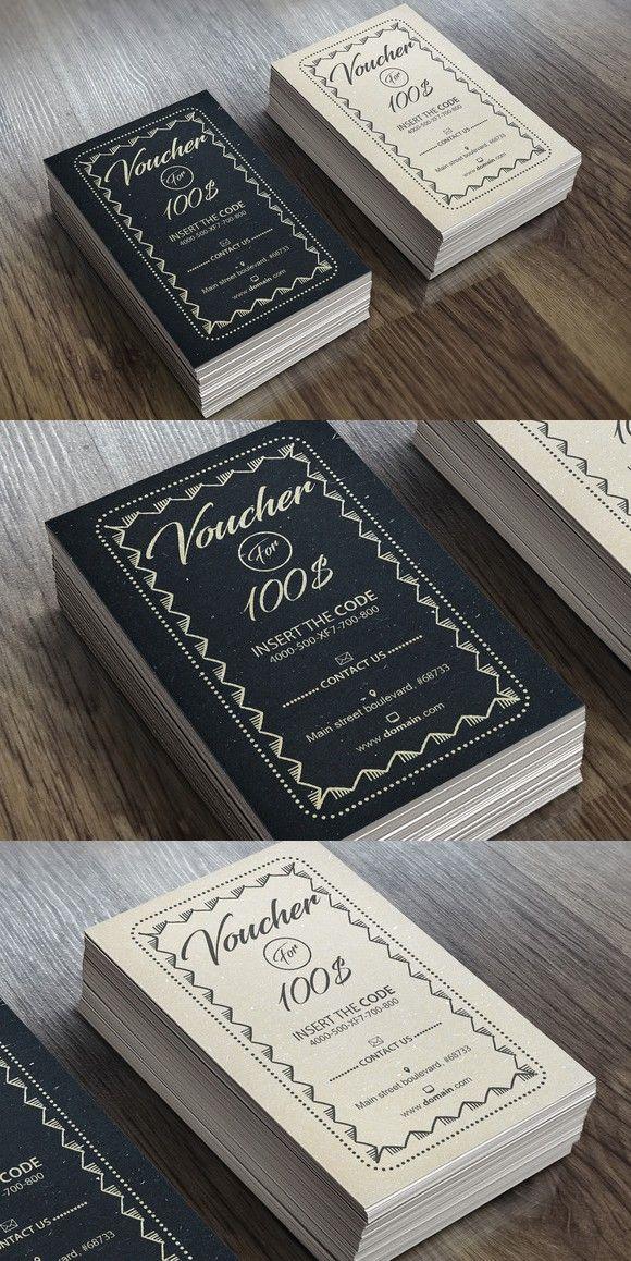 Vintage Voucher Card 03 | Creative Card Templates | Pinterest | Card ...