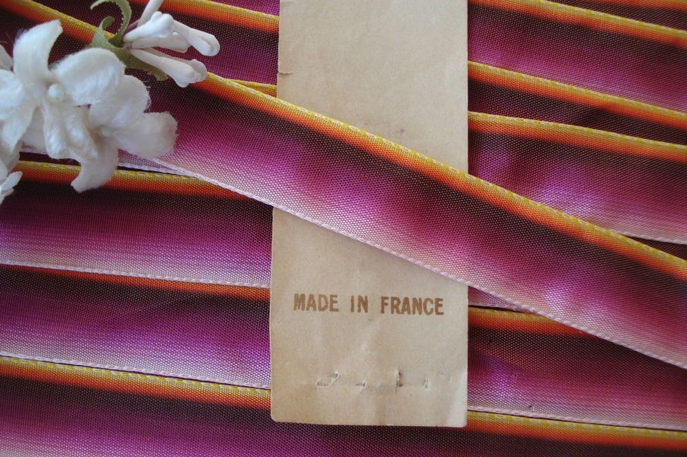 VINTAGE FRENCH OMBRE RIBBON WORK TRIM MILLINERY FLOWER DOLL PANSY