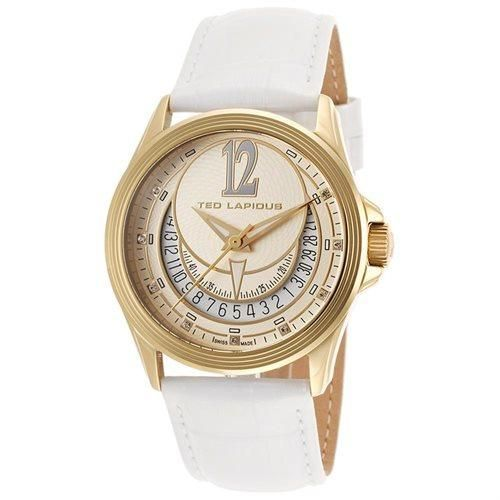 Ted Lapidus Women's White Genuine Leather Gold-Tone Dial Watch TLAPIDUS-643-A0512PTIFSM