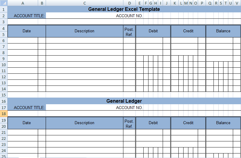 Get General Ledger Template In Excel Xls  Exceldox  Excel