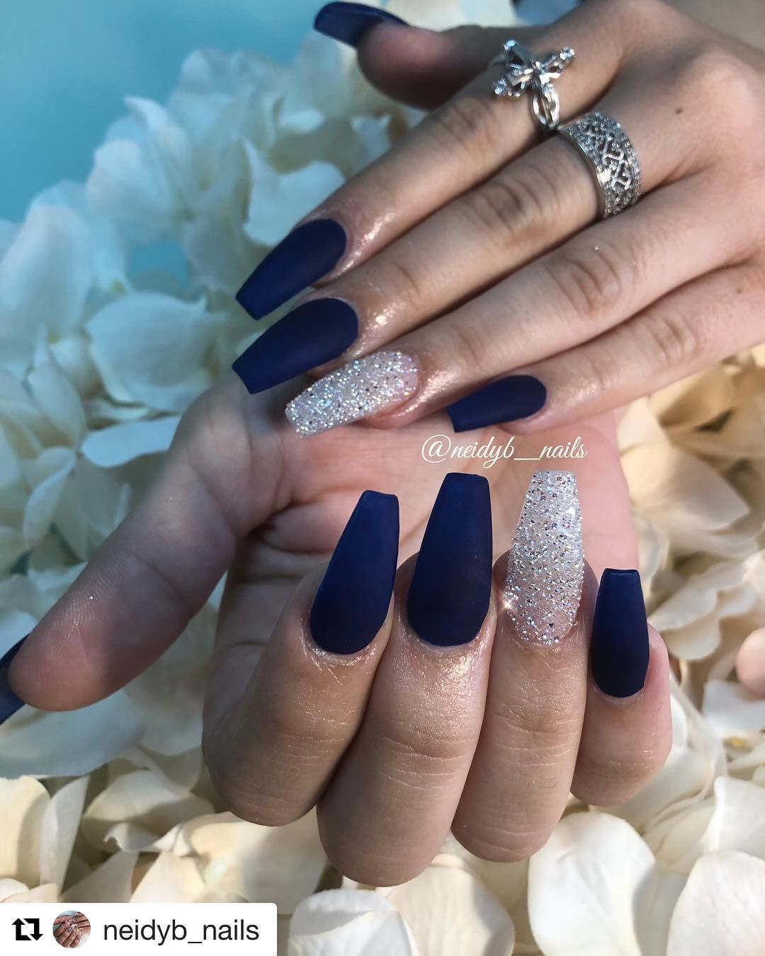 Naiks By Neidyb Nails Dark Blue And Pixies Nails Blue Nails In 2020 Blue And Silver Nails Blue Acrylic Nails Silver Nails