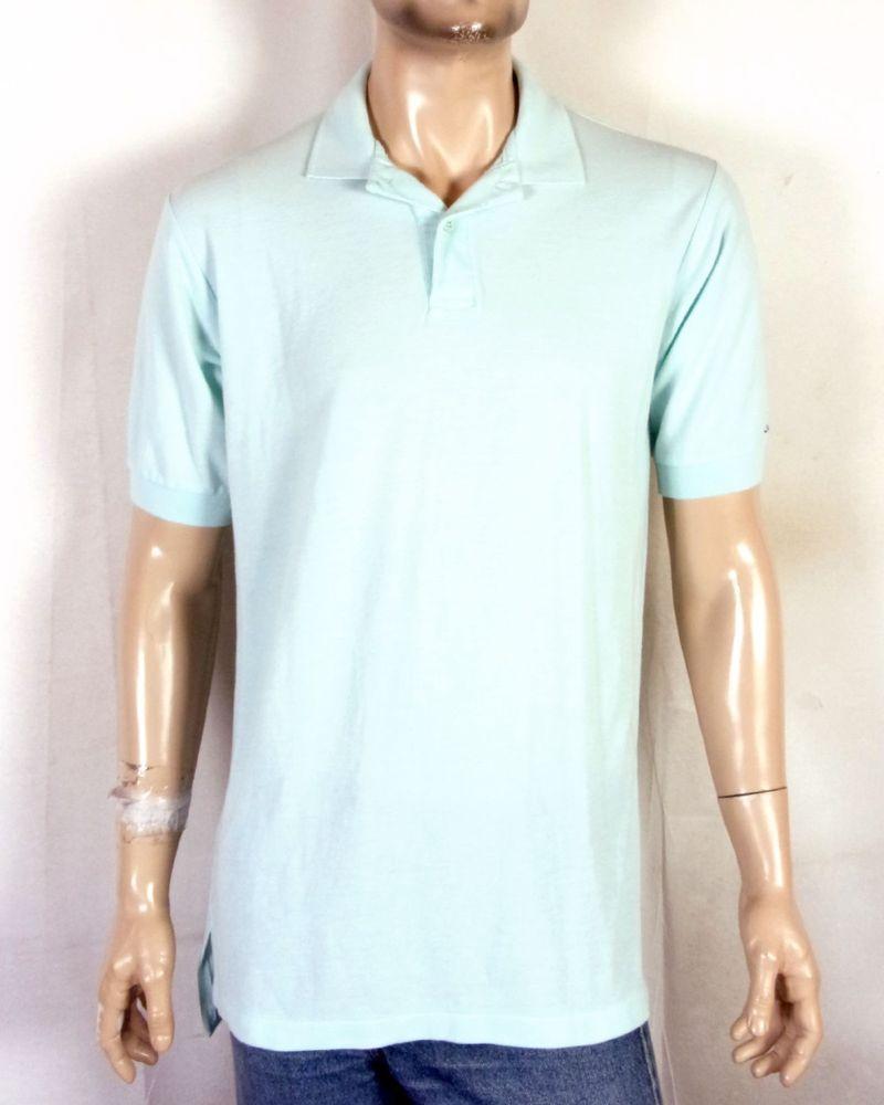 Vtg 80s Retro Levis Mens Seafoam Polo Shirt Casual Spell Out Logo