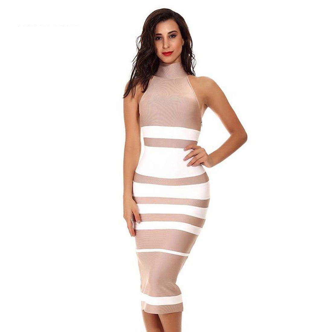 2018 Fashion draped striped women black nude bodycon dress
