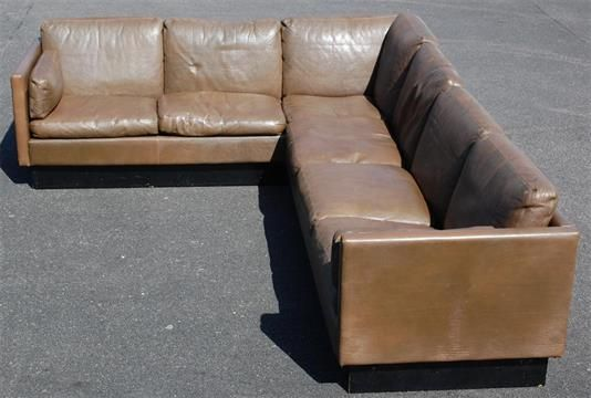 A Large Danish 1970s Chocolate Brown Leather Corner Sofa By Thams Raised On Black Painted Plint Leather Corner Sofa Black Leather Sofas Corner Sofa