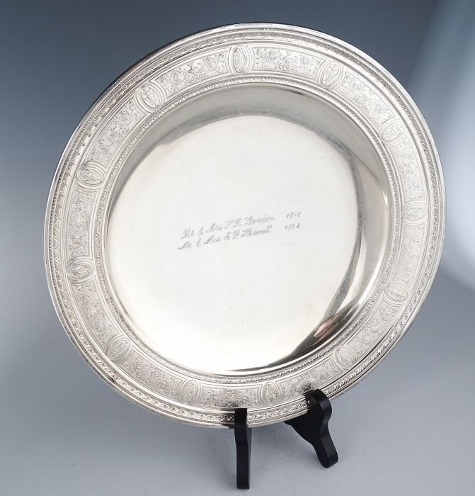 """Rendered in fine sterling silver, this tray is decorated in the classicWedgwood pattern introduced in 1924. The compote is engraved on both sides with the names: Dr. & Mrs. S.R. Gordon 1878"""" and """"Mr. & Mrs. E.P. Harwell 1928"""".   eBay!"""