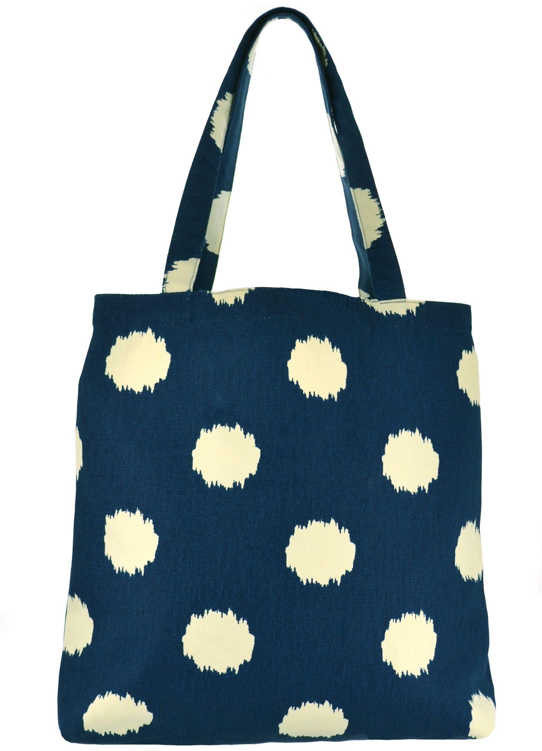 7d0e0bba0 Bolsa de tecido, modelo sacola com estampa poa azul marinho. Conhecida  também por Bolsa Sacola, Shopping Bag ou Tote Bag. Marca: Cha de Mulher