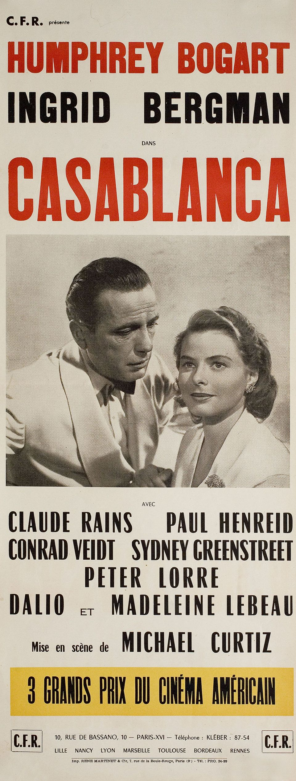 Casablanca R21s French Insert Poster   Old film posters, Movie ...