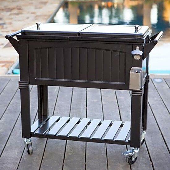 Party Patio Cooler Cart Black Wheeled Ice Chest Bottle Opener Outdoor New Permasteel
