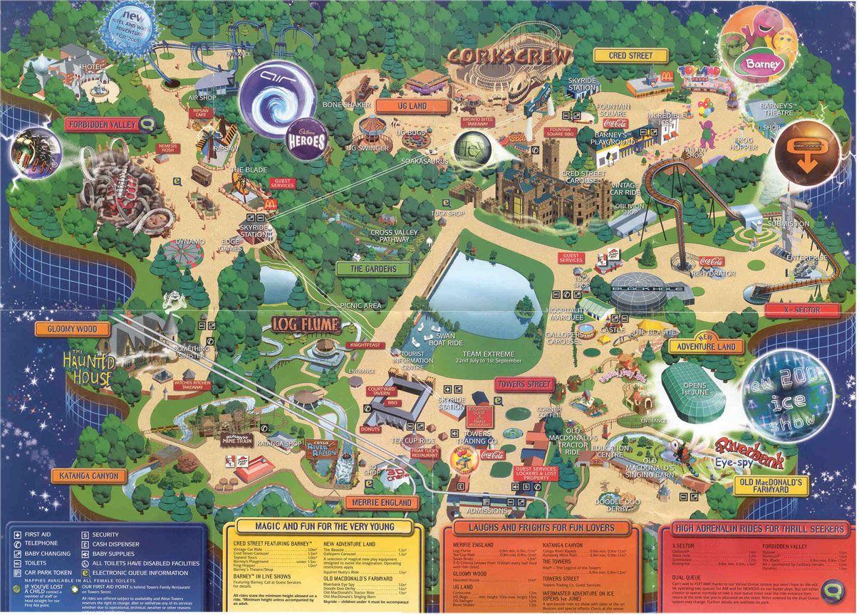 Old Park Maps Towerstimes Theme Park Map Park Map