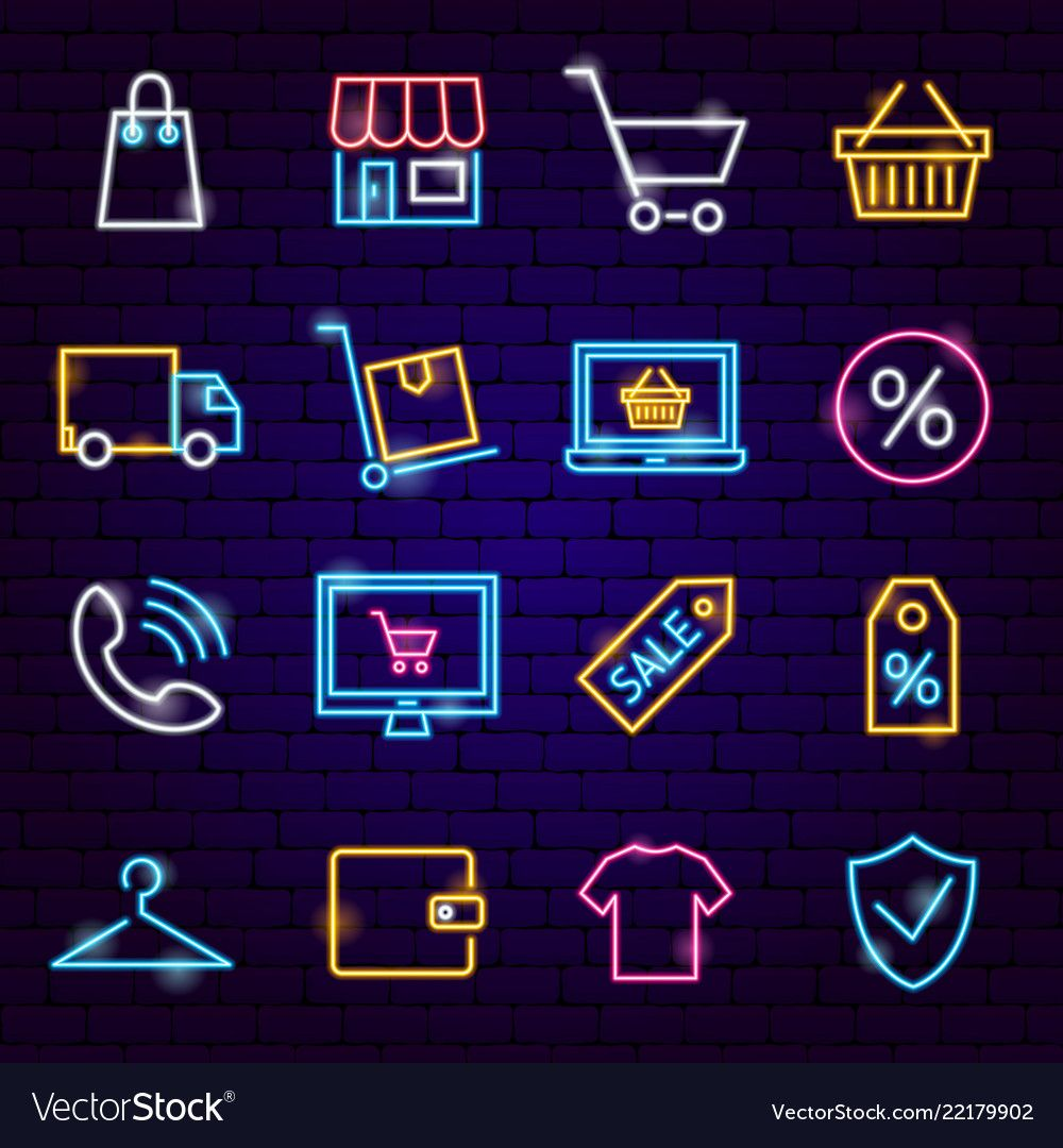 Shopping Neon Icons. Vector Illustration of Sale Symbols