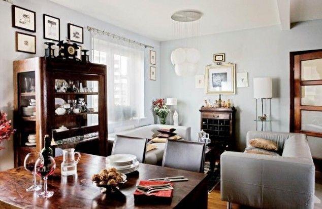 Dunkle Moebel, Hellblaue Waende Hellblaue Wände, Dunkle Möbel, Dunkelheit,  Wohnzimmer, Wohnen