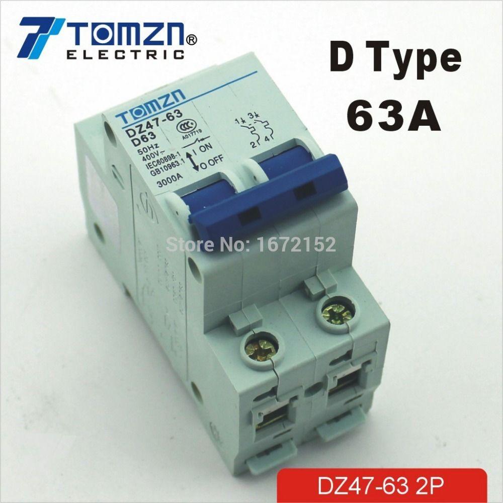 2P 63A D type 240V/415V 50HZ/60HZ Circuit breaker MCB