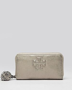 Tory Burch Wallet Thea Zip Continental With Pom Metallic Bloomingdale S