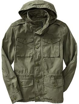 48d69f5fb2c Mens Hooded Military-Style Canvas Jackets