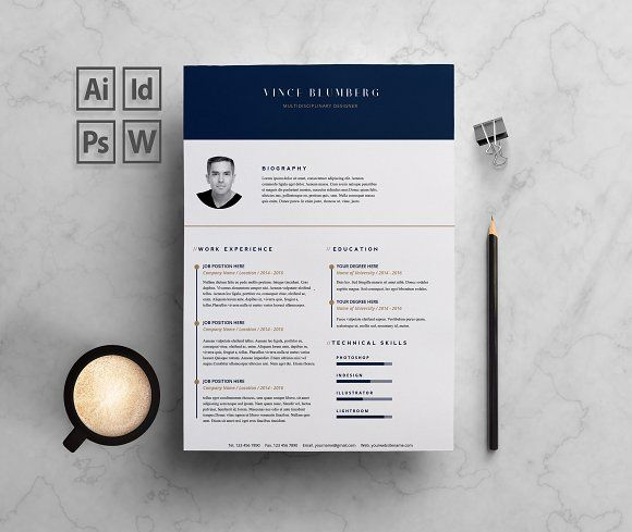 Resume Cv 2 Pages Vince By Bcd Studio On Creativemarket Resume Cover Letter Template Cover Letter For Resume Cover Letter Template