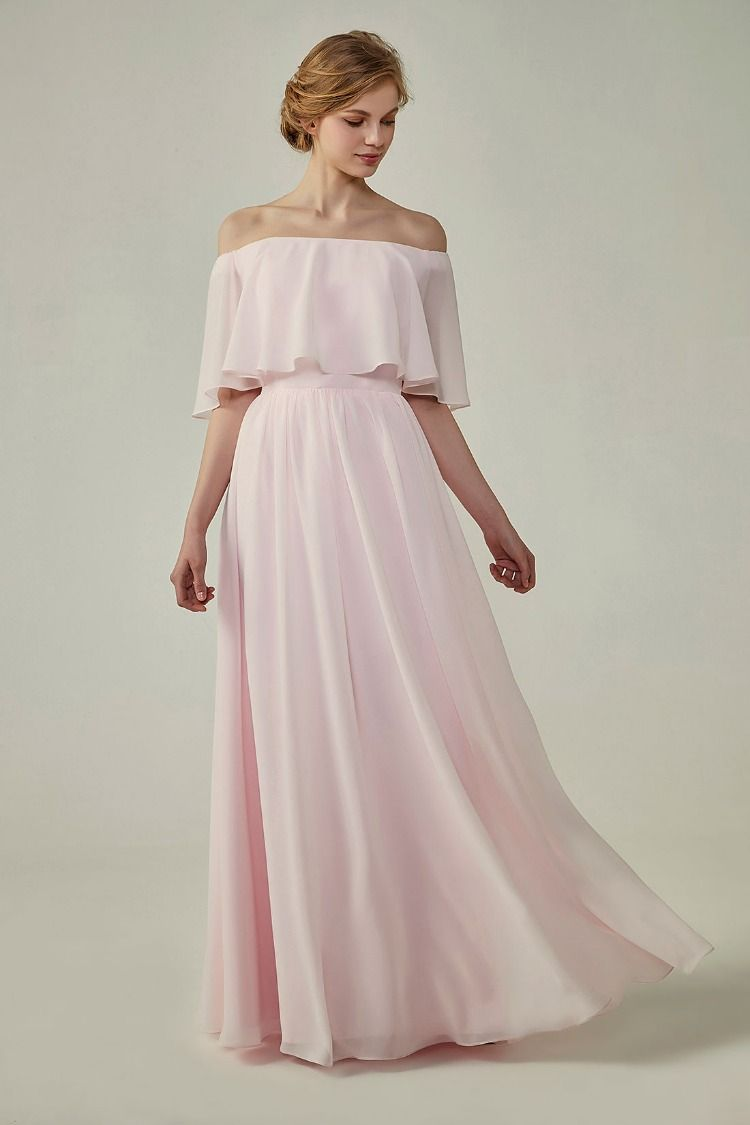 Bohemian Style Off Shoulder Chiffon Bridesmaid Dress  b62c42c01b0d