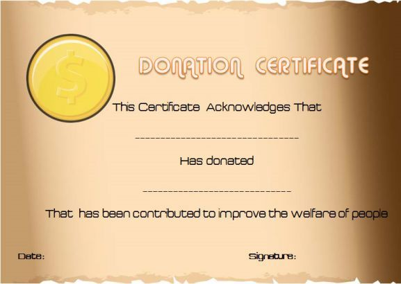 Donation Certificate Template Free Thank You For Your Donation