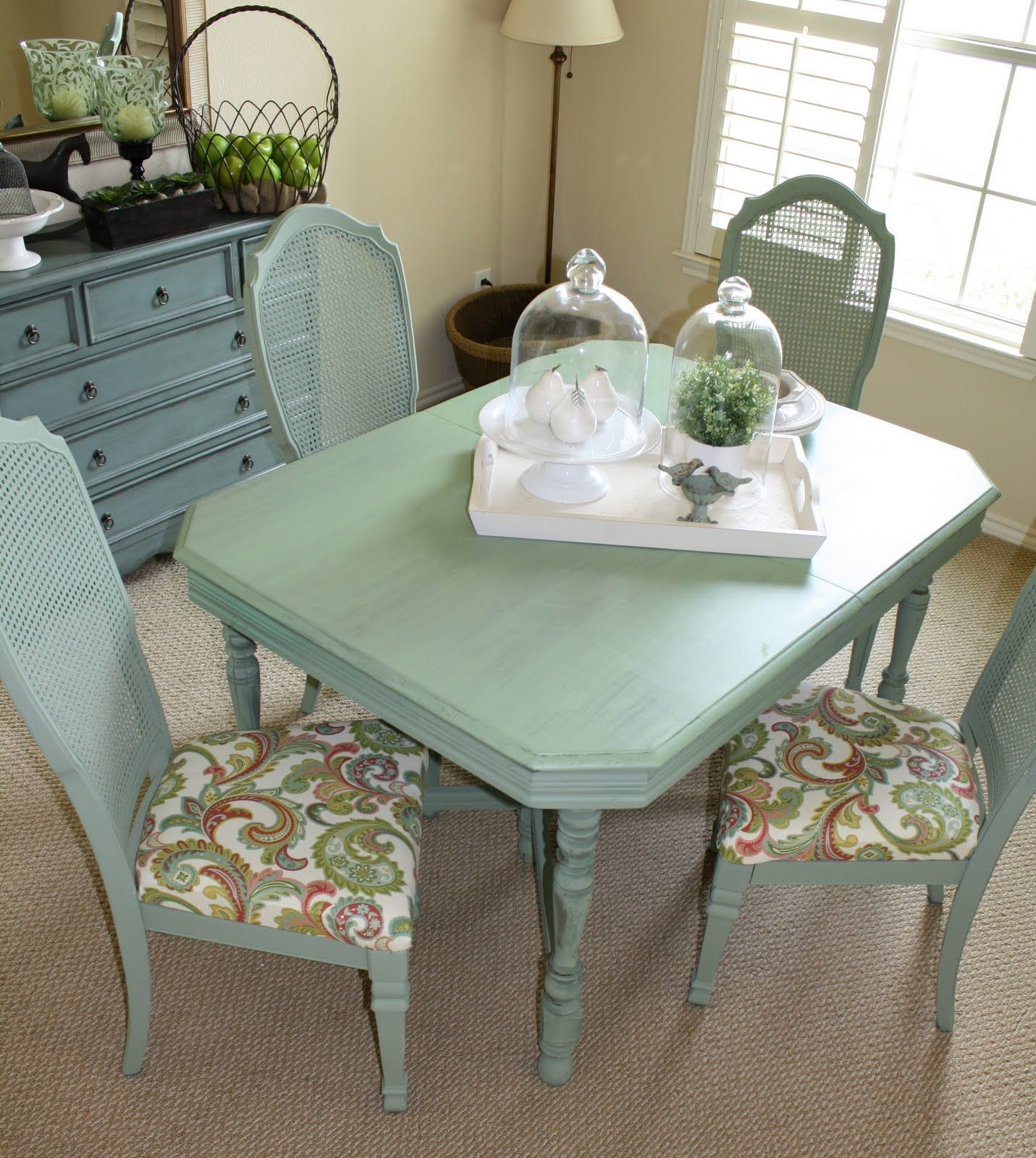 Love The Color Of This Table And Chair Fabric Seafoam Green Dining