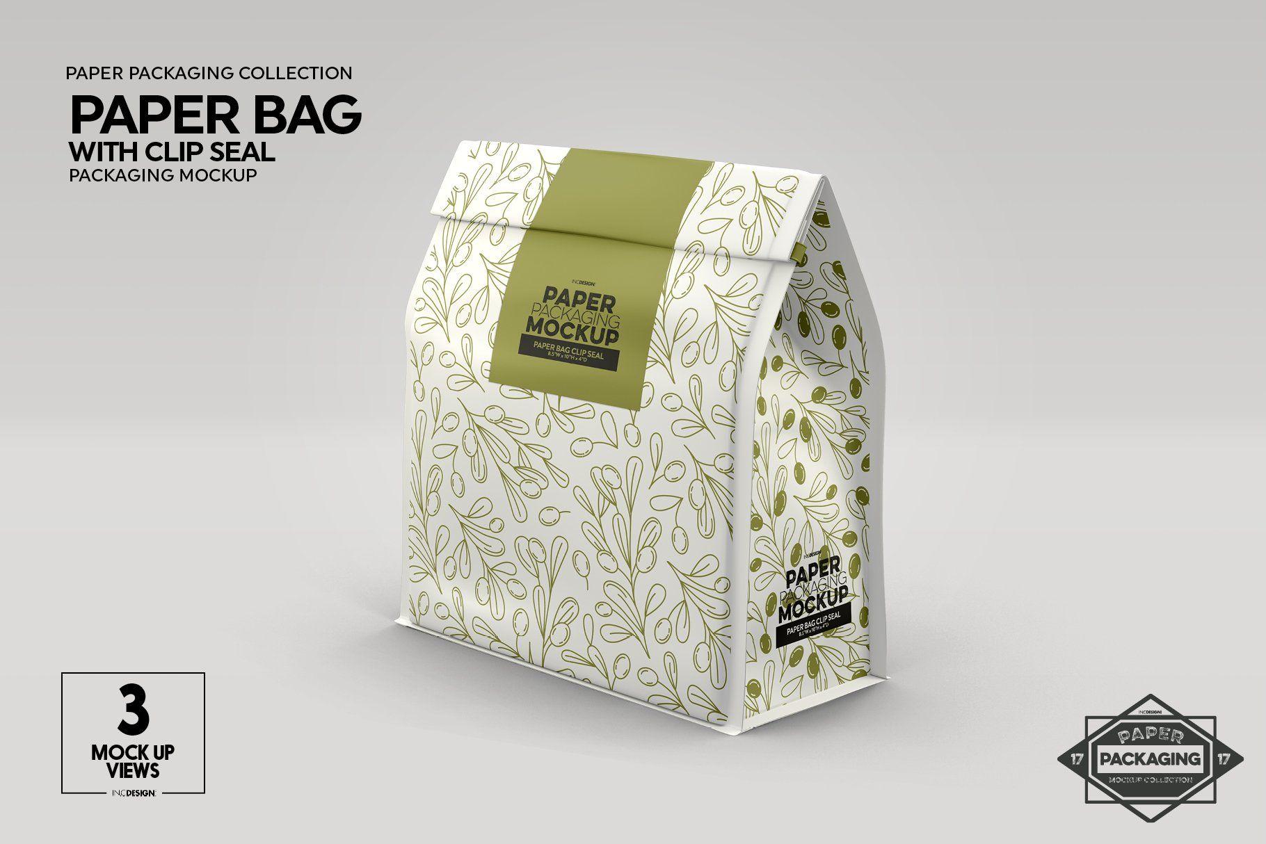 Download Paper Bags With Clip Seals Packaging Mockup 338560 Branding Design Bundles Paper Bag Design Packaging Mockup Free Packaging Mockup