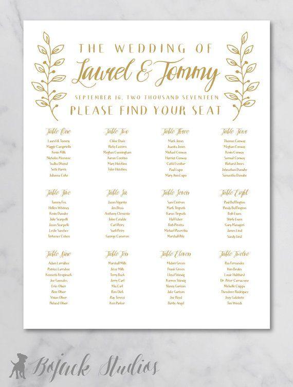 Wedding seating chart poster printable custom sign printed also rh pinterest