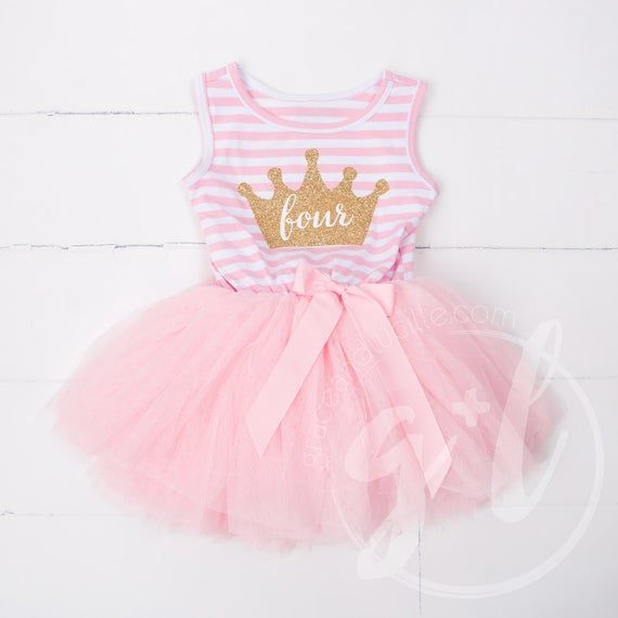 BIRTHDAY PRINCESS PARTY TUTU Pink Stripe Long sleeve Number Silver Crown Dress