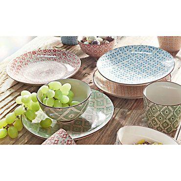 Keramik Teller Set Retro 4 Tlg Gemustert Weltbild De Keramik