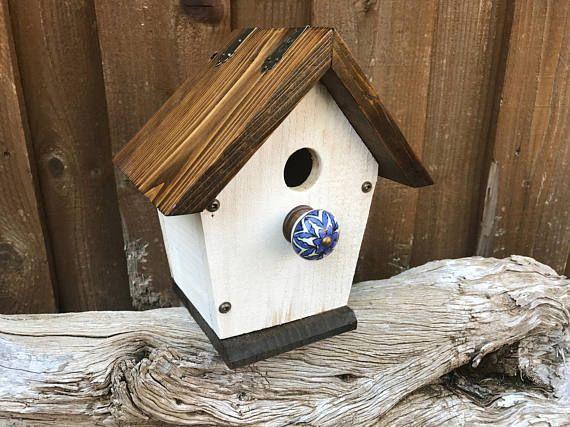 White Rustic Birdhouse /  The Shack  / Cedar Wood Birdhouse / Outdoor Birdhouse / & White Rustic Birdhouse /
