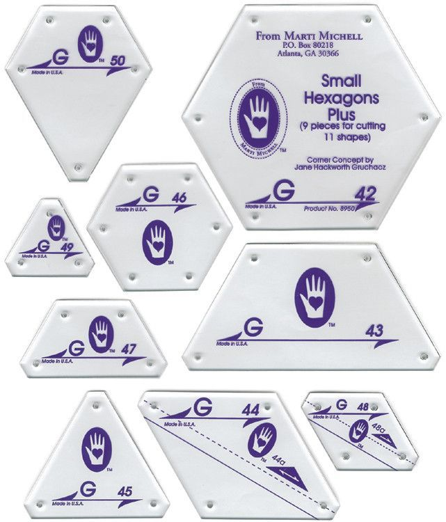 Quilting Templates Set G Small Hexagon Set | Pinterest