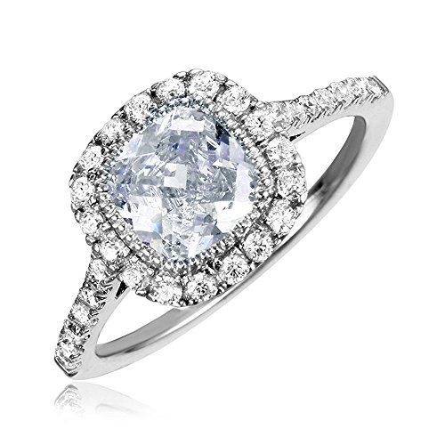 Rhodium Plated Sterling Silver Square Cushion Cut Center Halo Engagement Ring  Size 7 ** Be sure to check out this awesome product.(This is an Amazon affiliate link and I receive a commission for the sales)