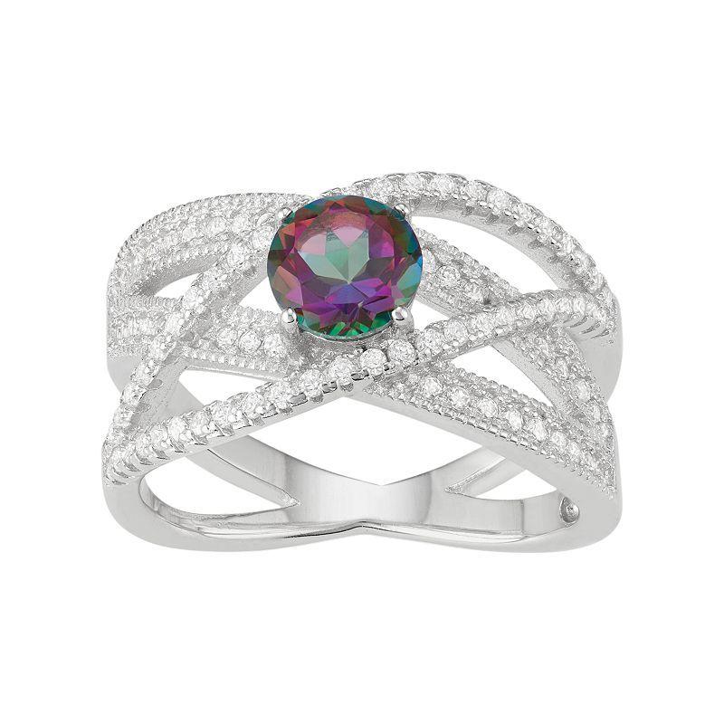 Sterling Silver Mystic Fire Topaz & Cubic Zirconia Crisscross Ring, Women's, Size: 11, Purple