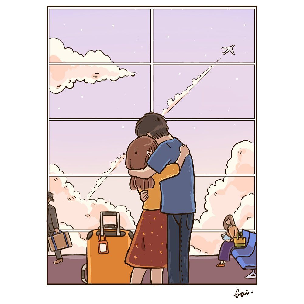 "bai. on Instagram: ""Arrival or departure ✈️ . #love #longdistance #longdistancerelationship #couple #life #relationship #art #illustration #digitalart…"""