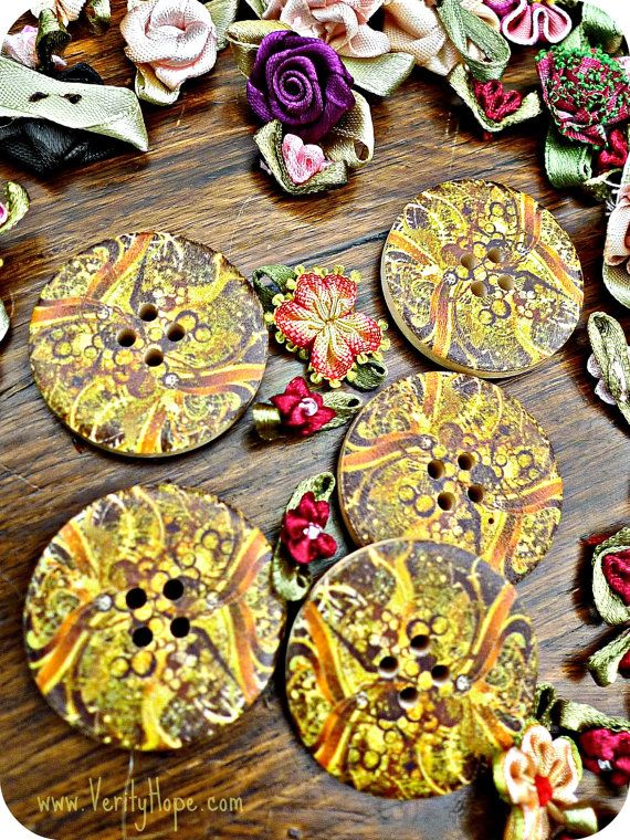 Wooden marble effect buttons x 5  LAST ONES by VerityHope on Etsy