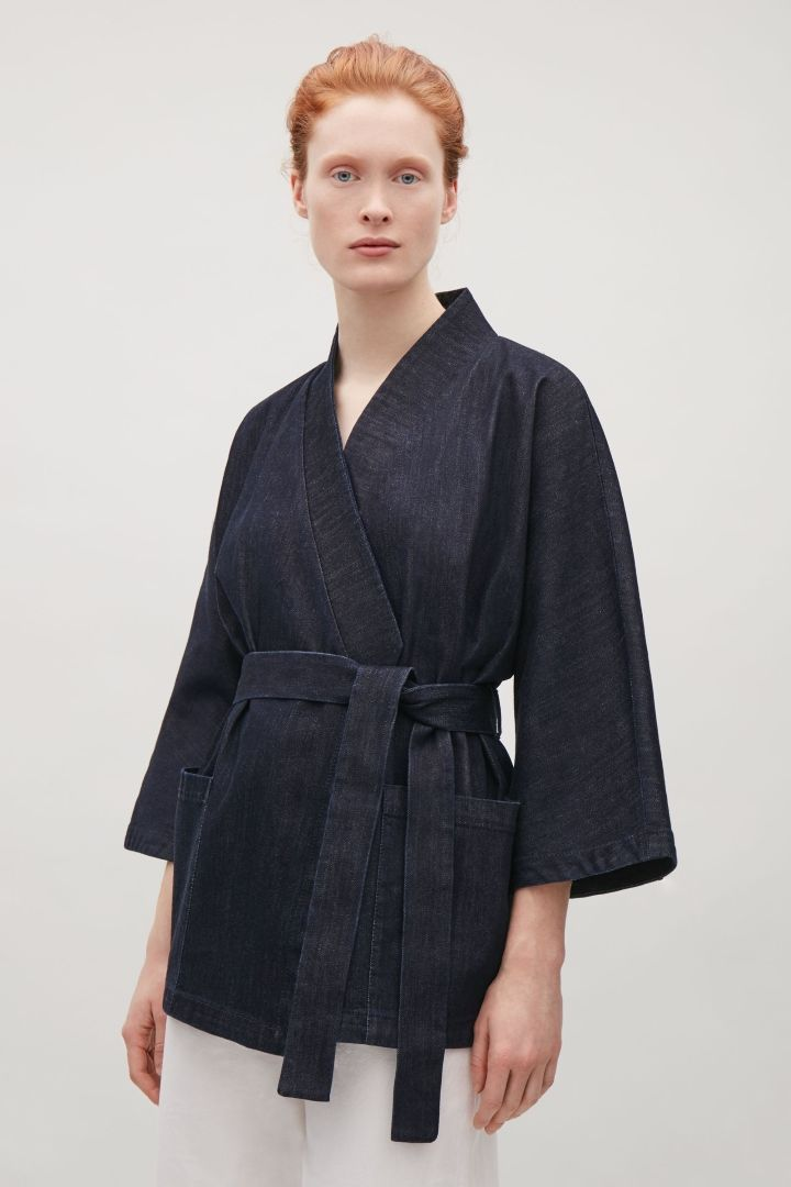 COS image 2 of Denim kimono blazer in Navy