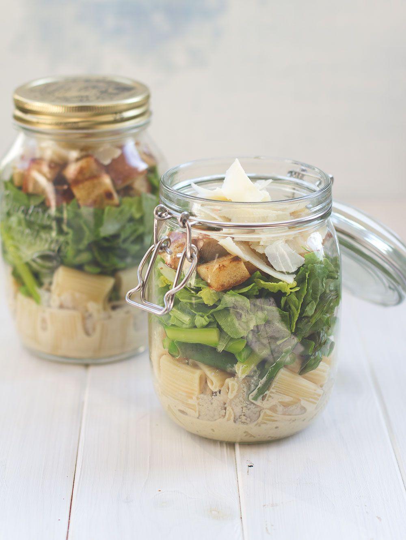 Rezept für Caesar Pasta Spargel Salat im Glas - Rezept mit und ohne Thermomix