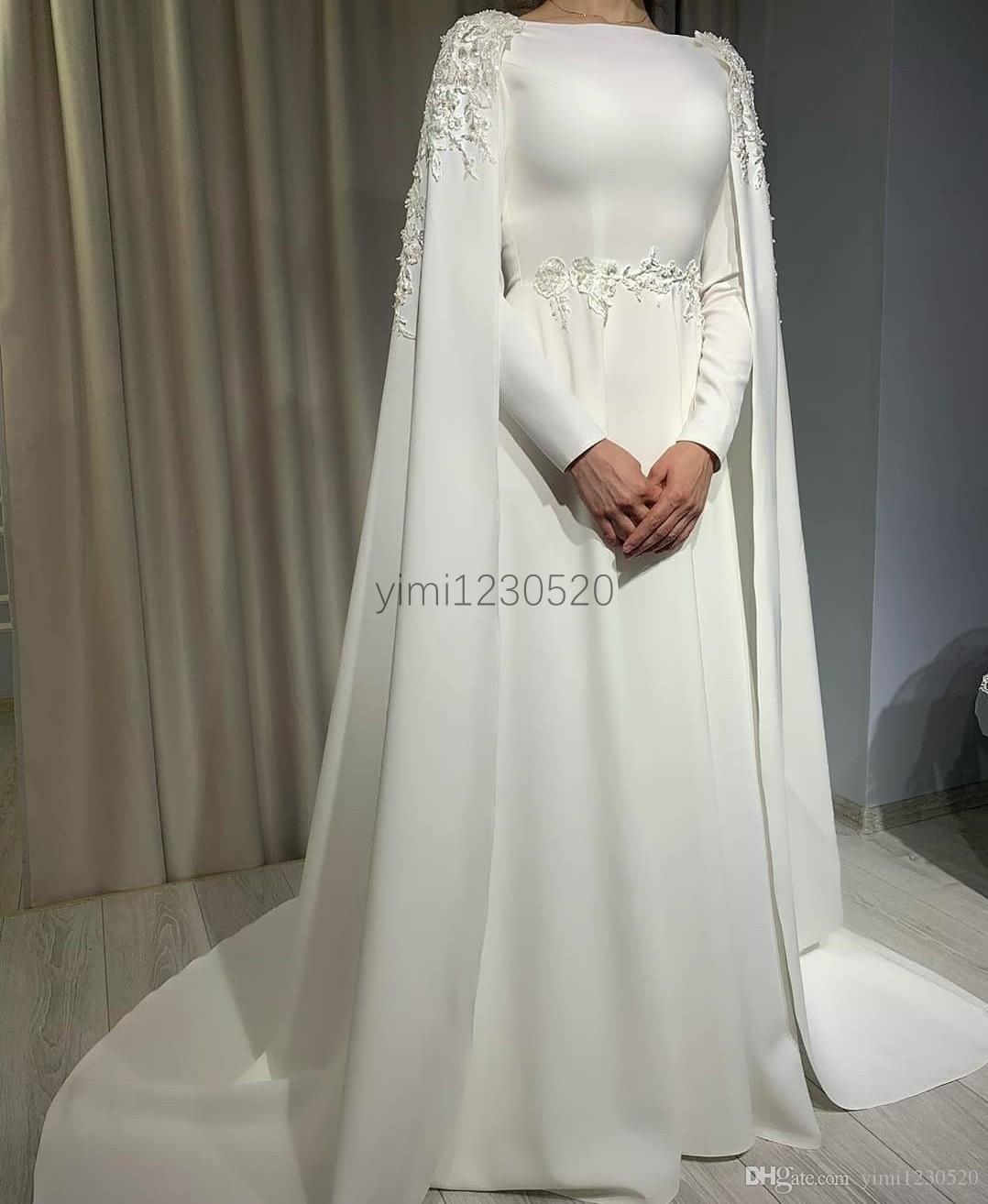 New Arabic Wedding Dresses 2020 Bateau Sweep Train Appliques Beads Garden Country Chapel Bridal Go Cape Wedding Dress Wedding Dresses Uk Arabic Wedding Dresses [ 1314 x 1078 Pixel ]