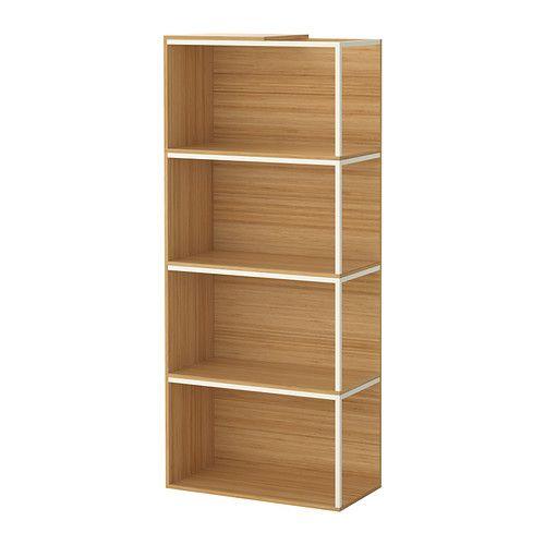 IKEA PS 2014 Säilytyskokonaisuus ja päällyslevy, bambu, valkoinen bambu/valkoinen 60x140 cm