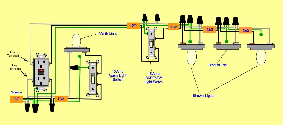 BATHROOM WIRING | Proper Wiring Diagram-wiringbathroom.jpg | Light switch  wiring, Home electrical wiring, Bathroom exhaust fan | Bathroom Fan And Light And Gfi Wiring Diagram |  | Pinterest
