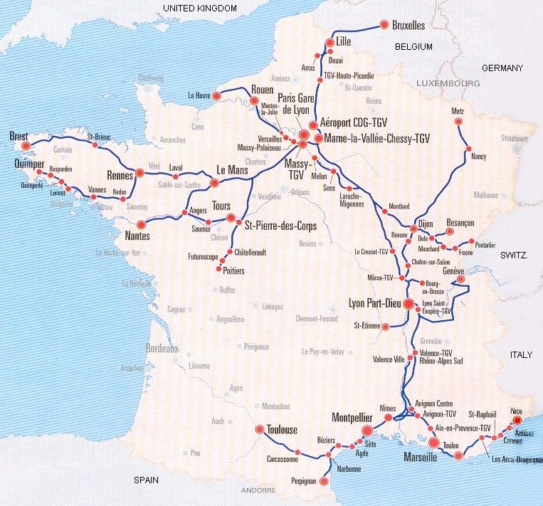 Map Of Trains In France.Image Detail For France Train Map Of Tgv High Speed Train System