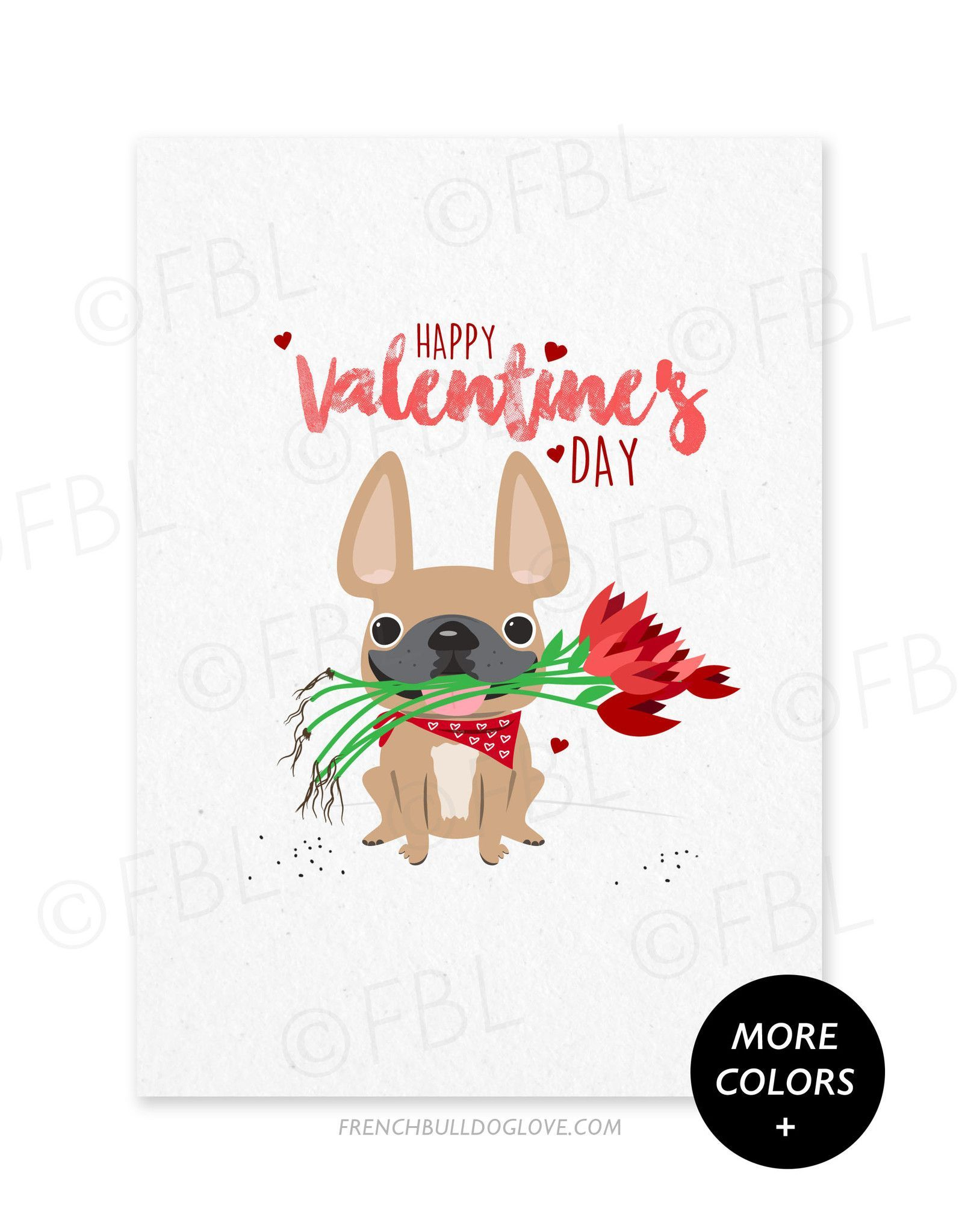 Roses French Bulldog Valentines Day Card – French Valentines Cards