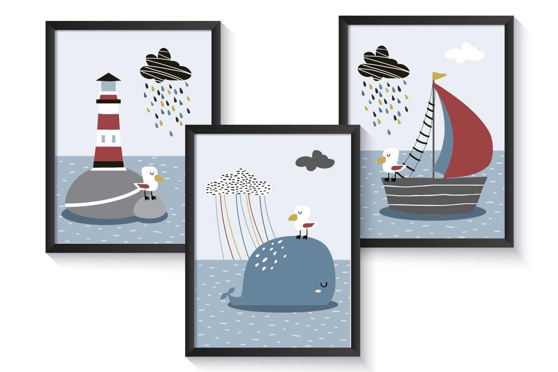 PosterSet maritim Boot Wal Leuchtturm A4 Maritimes