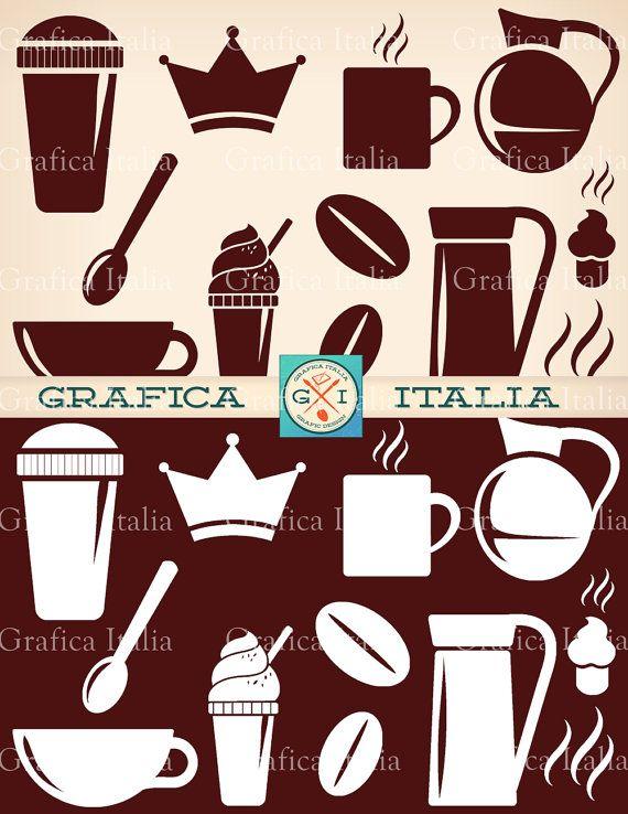 Coffee Clipart Elements Espresso Digital Clip Art DIY Graphic Design By Graficaitalia