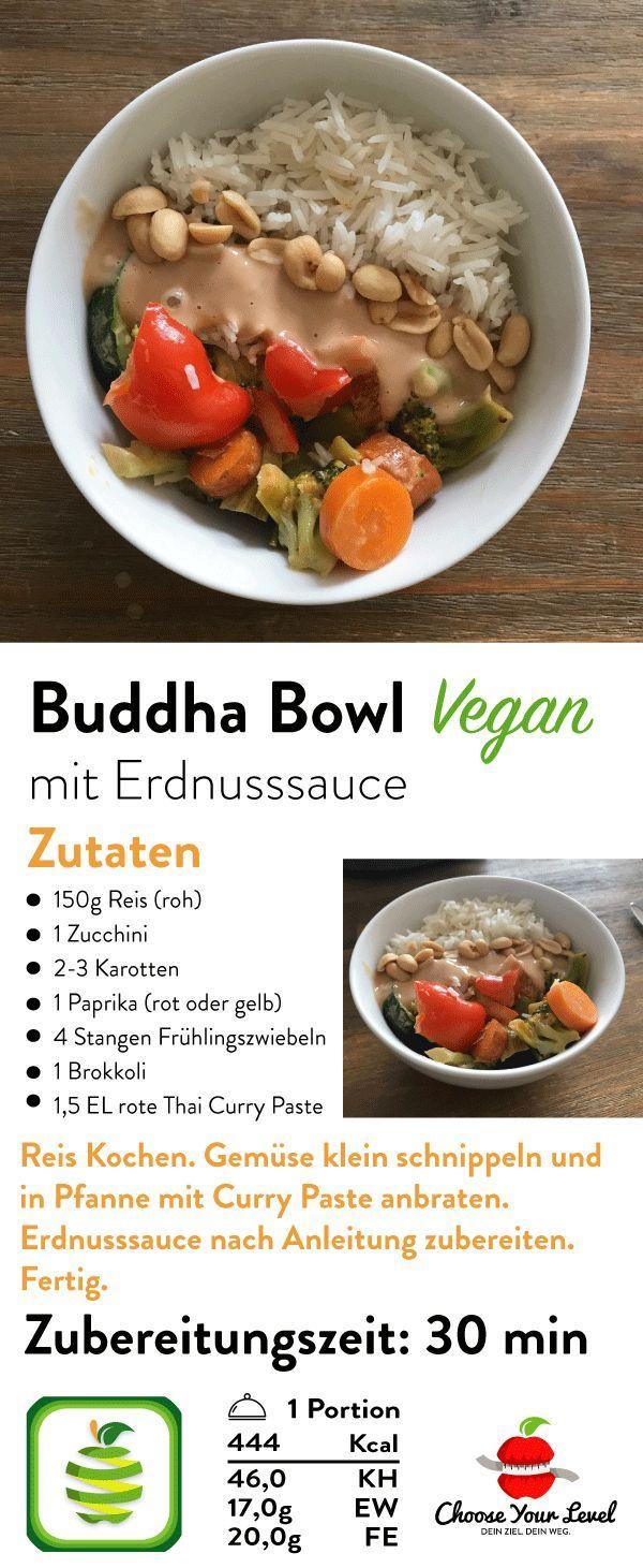 Gemüse Sate Bowl - Thai Curry mit Erdnusssauce #veganerezeptemittag