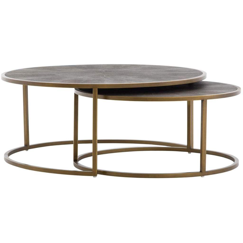 Shagreen Nesting Coffee Table, Brass Nesting coffee