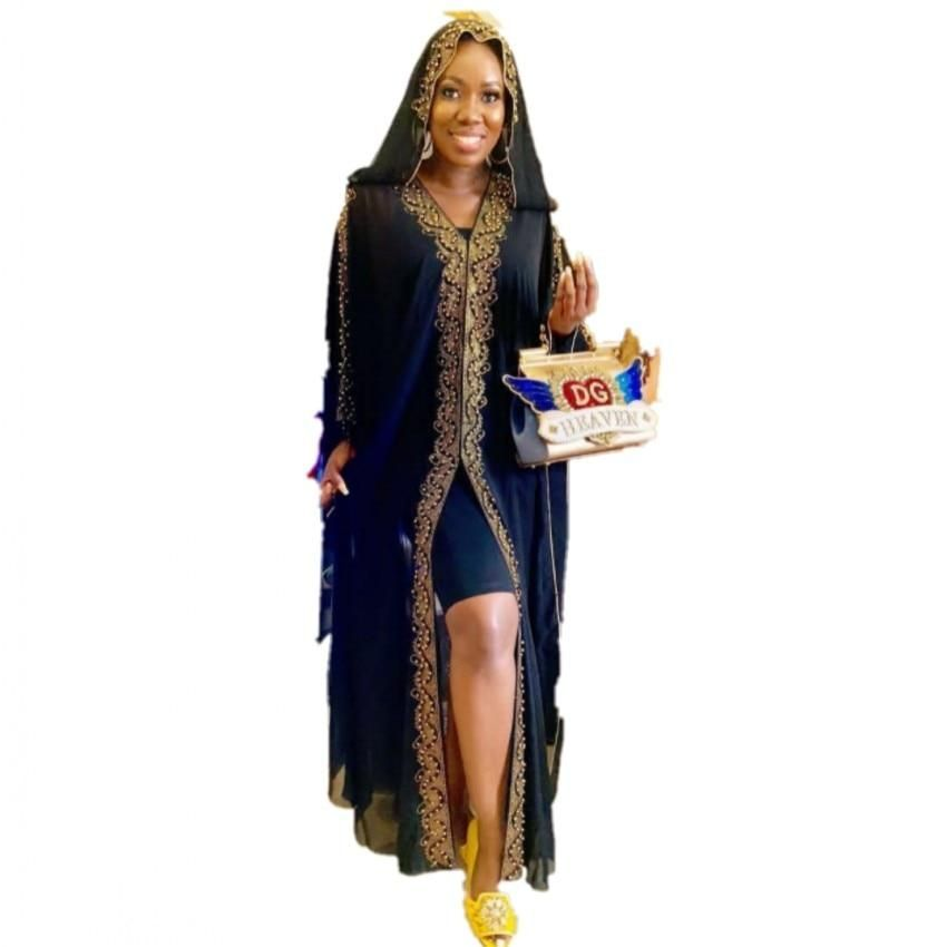 African Dresses For Women AFrican Design Bazin Chiffon Long Stick Diamond SLeeve